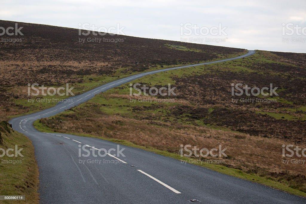 Dartmoor Devon Road England stock photo
