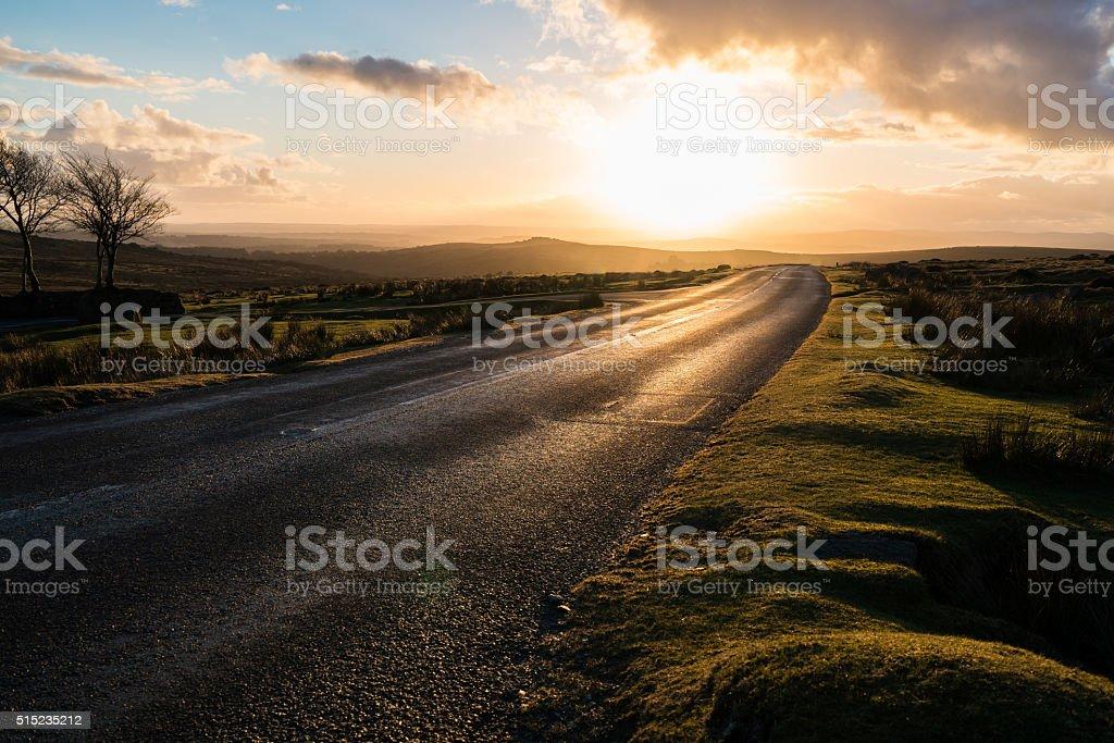 Dartmoor dusk road stock photo