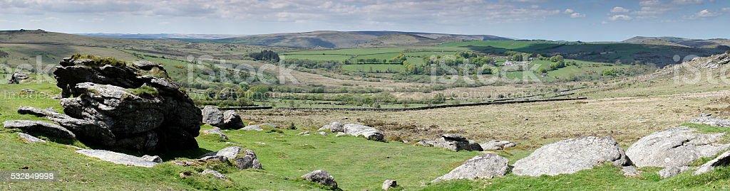 Dartmoor panorama near Haytor looking towards Hamel Down stock photo