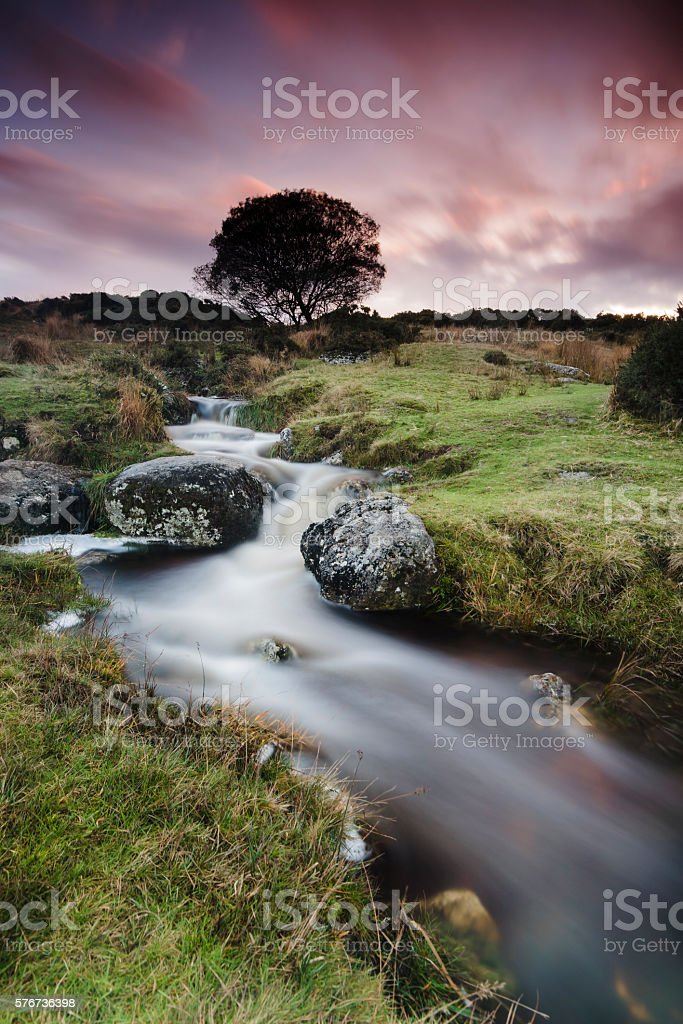 Dartmoor stream and sunset near Postbridge in Devon stock photo