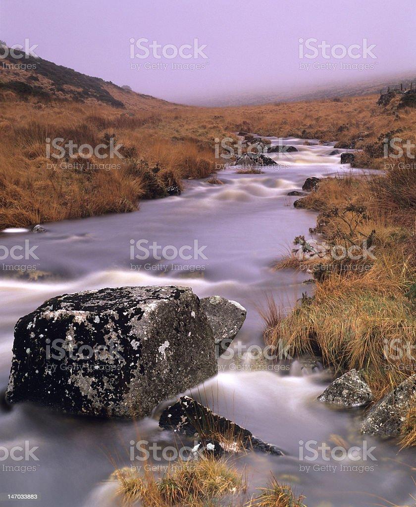 Dartmoor stream on a misty day stock photo