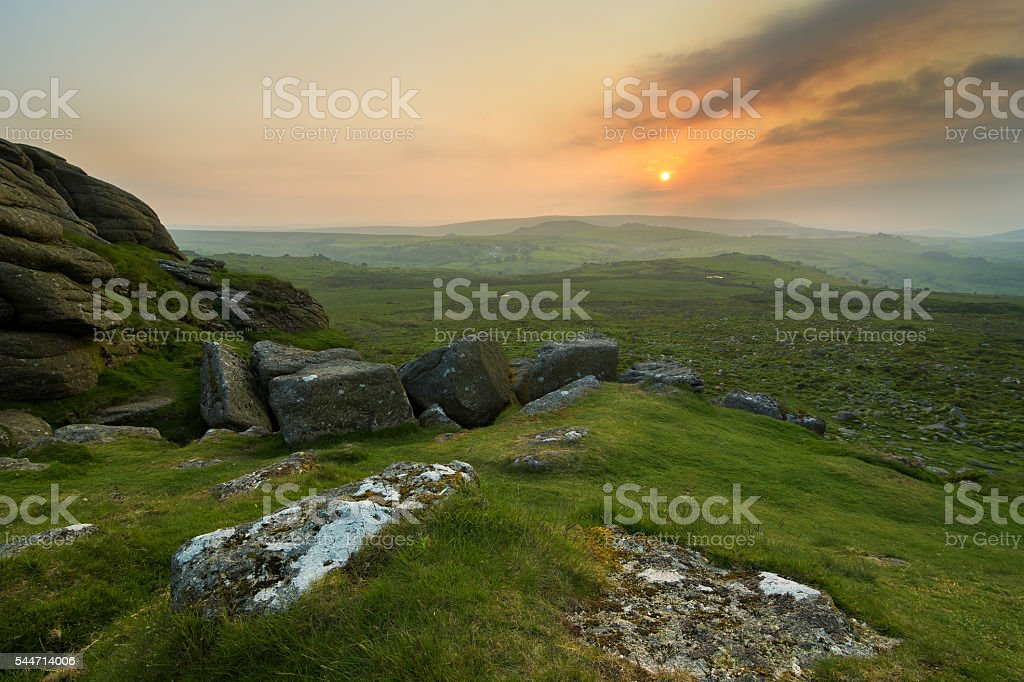 Dartmoor Sunset stock photo