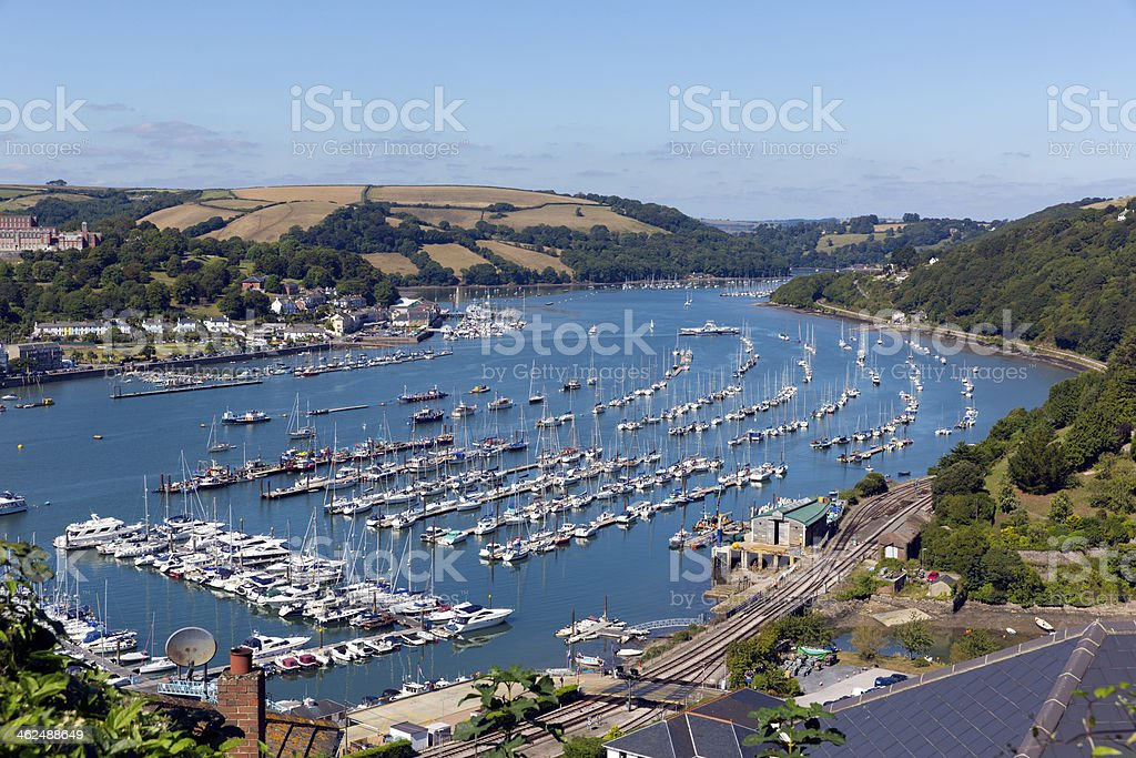 Dartmouth Devon England boats and yachts on the River Dart stock photo