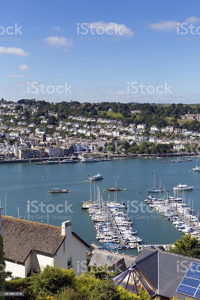 Dartmouth Devon with boats and yachts in the harbour stock photo