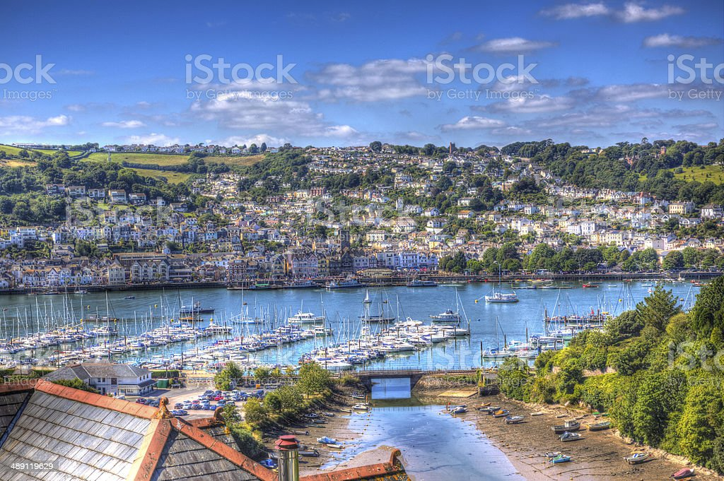 Dartmouth river with boats and yachts Devon England stunning HDR stock photo