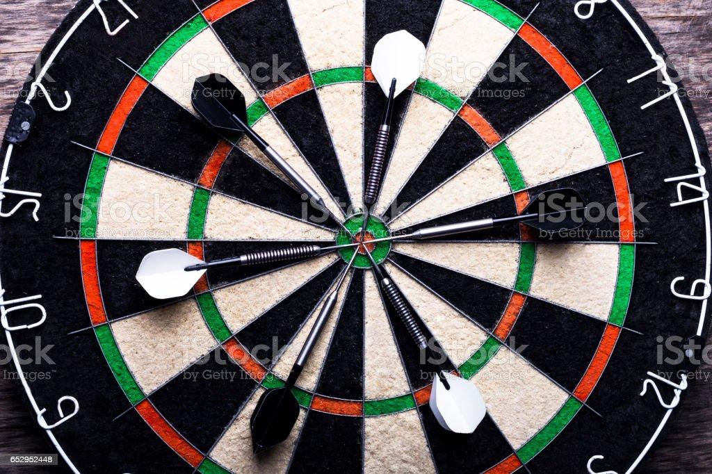 Darts and board stock photo