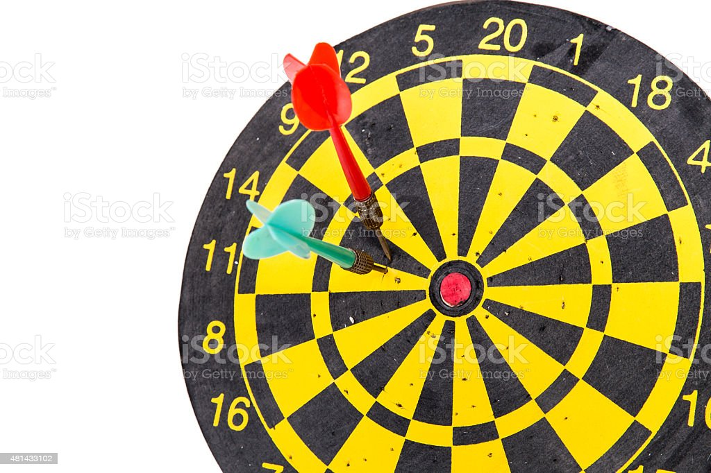 darts arrows in the target stock photo