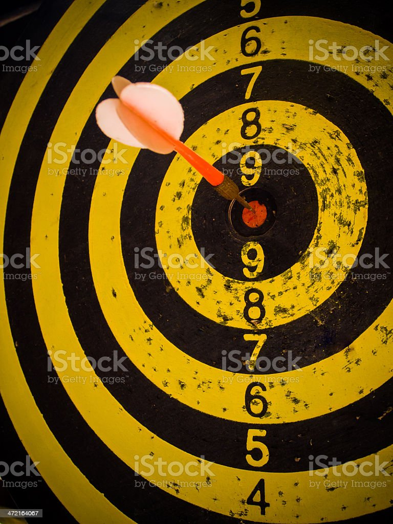 Darts board and arrows in the target center stock photo