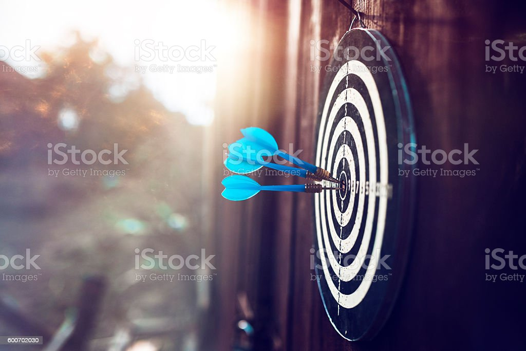 darts board at sunset stock photo
