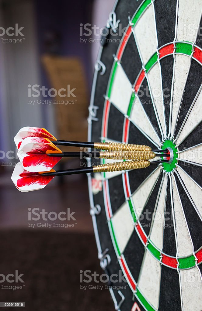 Darts board close-up stock photo
