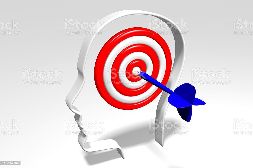 3D darts concept - head stock photo
