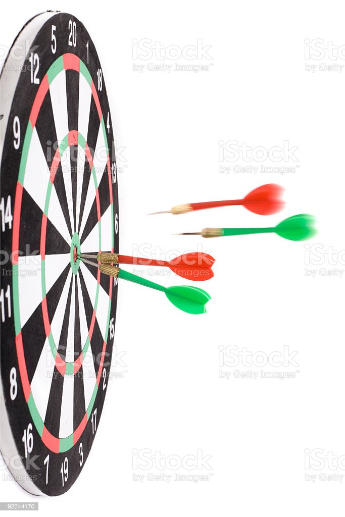 Darts hit the Dartboard royalty-free stock photo
