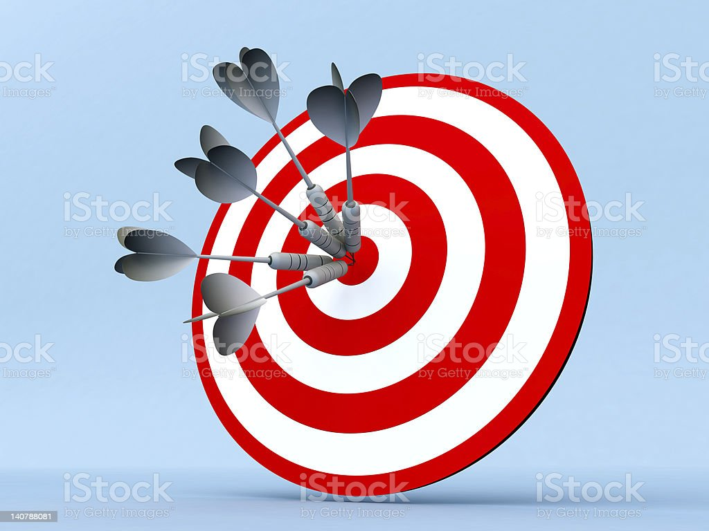 3D Darts in Center of Target royalty-free stock photo