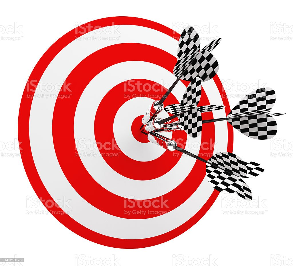 3D 5 Darts in Center of Target royalty-free stock photo