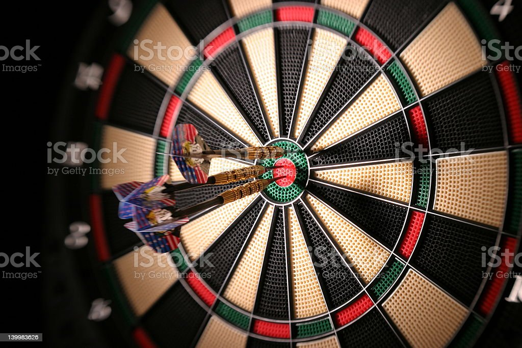 Darts in Dartboard stock photo