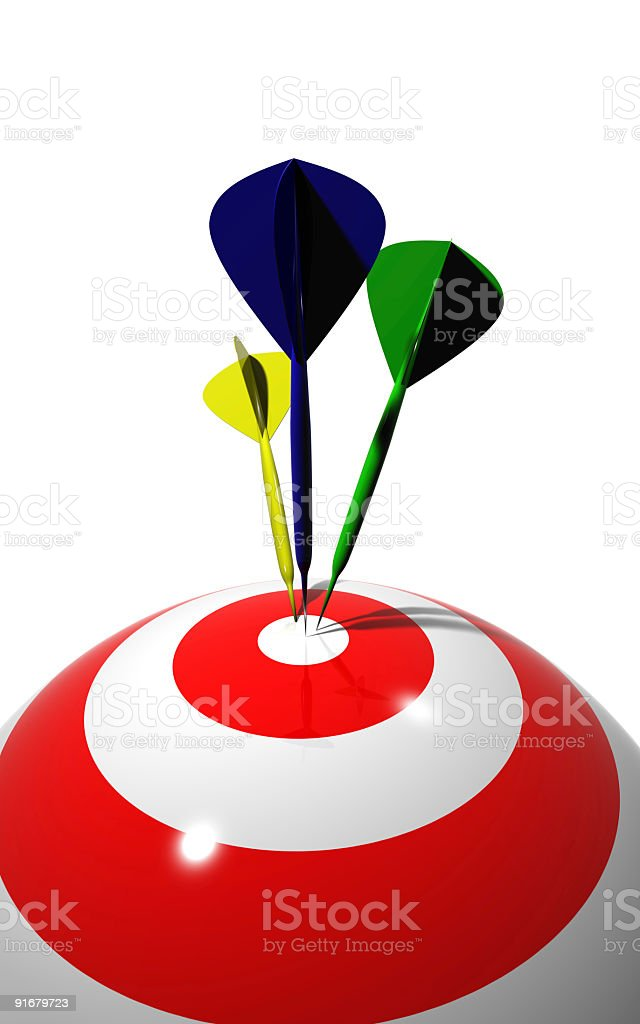 darts in round target royalty-free stock photo
