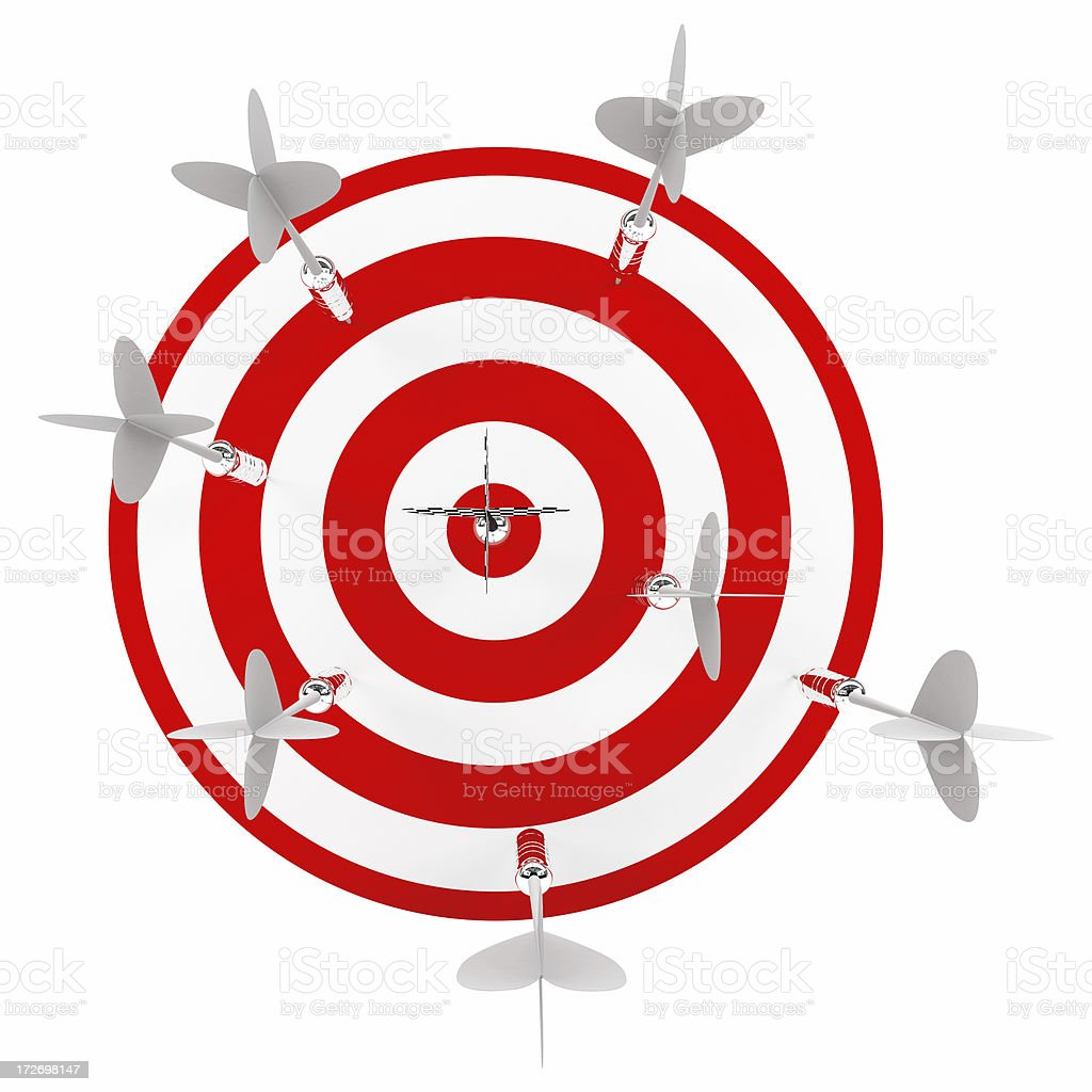 3D 5 Darts in Target royalty-free stock photo