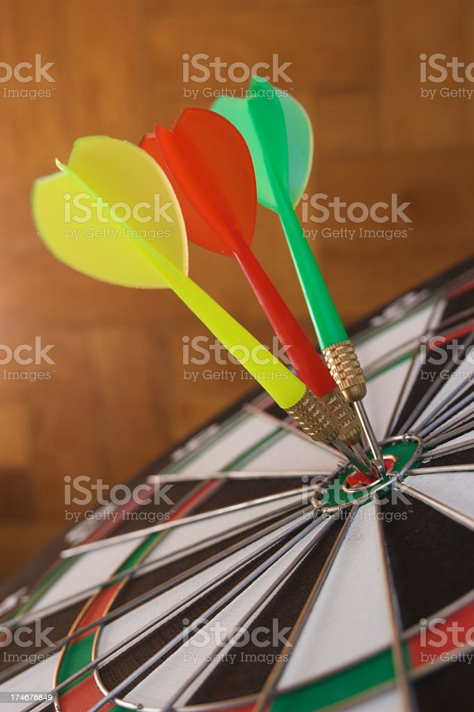 Darts in target royalty-free stock photo