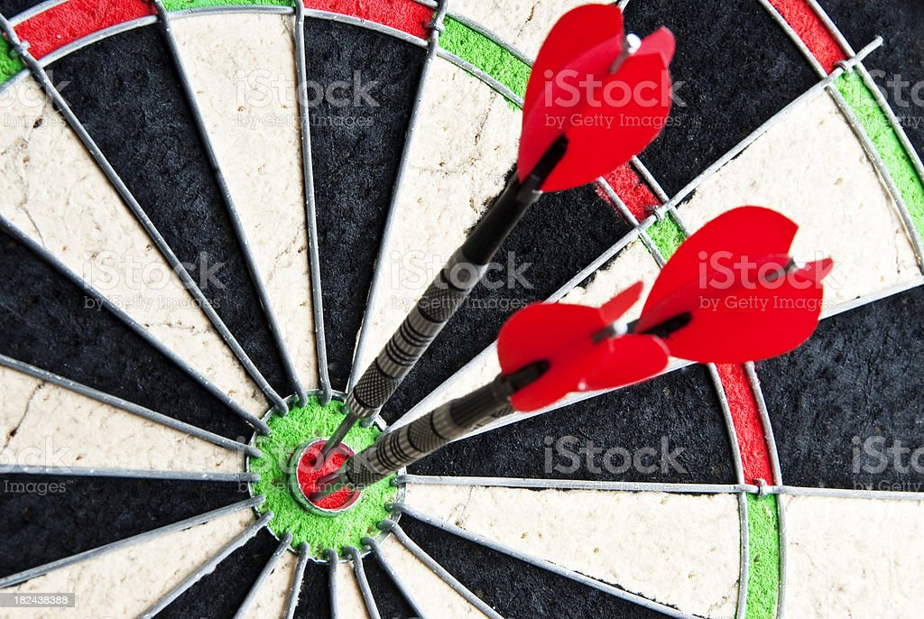 darts on dartboard royalty-free stock photo