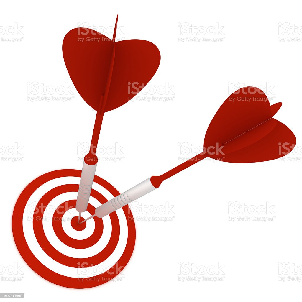 Darts on target competition success concept stock photo