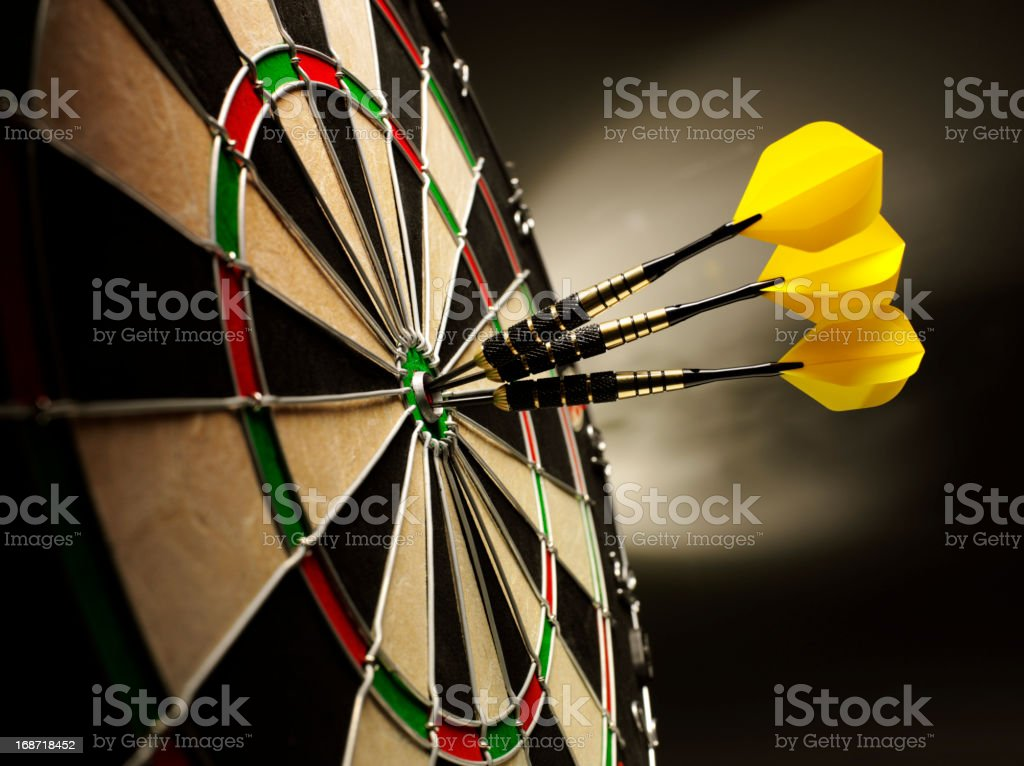 Darts on Target stock photo