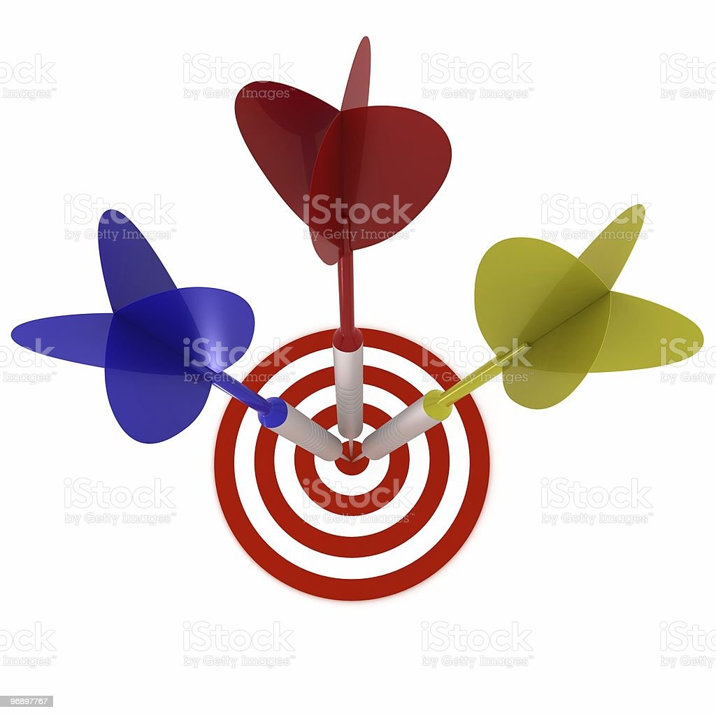 Darts on Target royalty-free stock photo