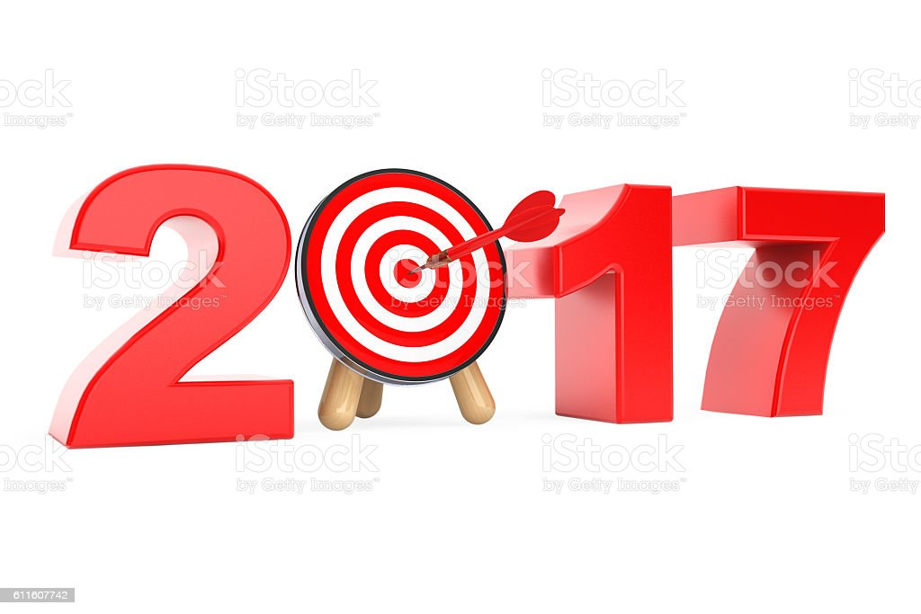 Darts Target as 2017 year Sign. 3d Rendering stock photo