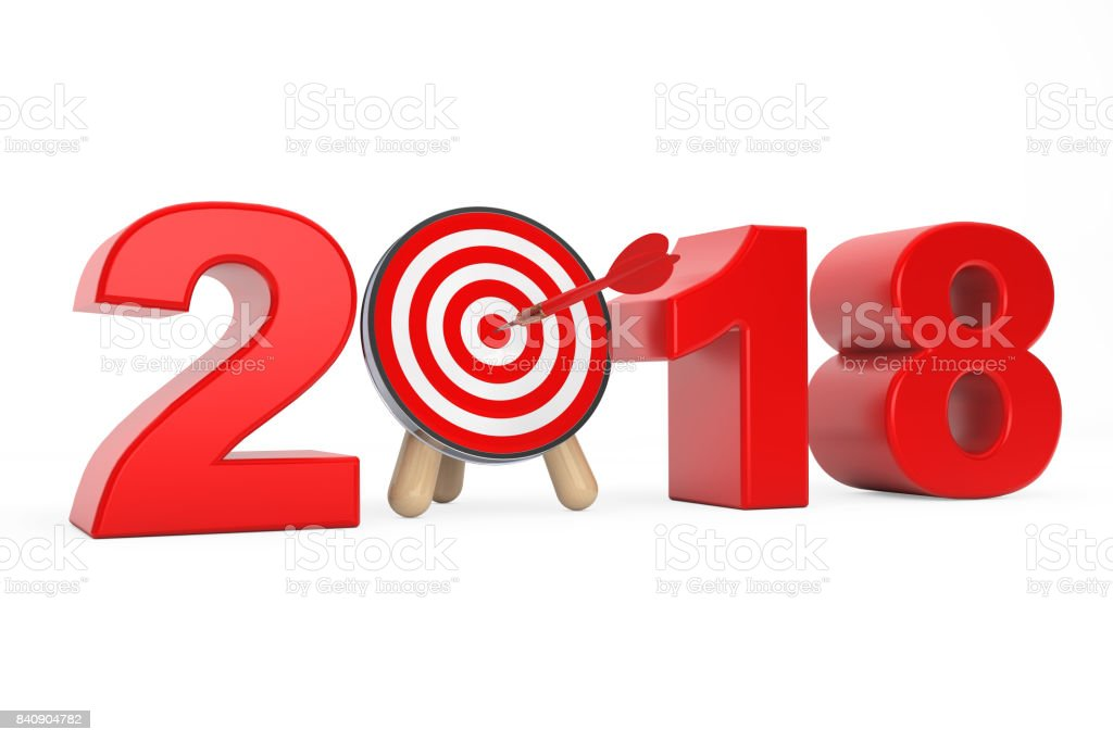 Darts Target as 2018 year Sign. 3d Rendering stock photo