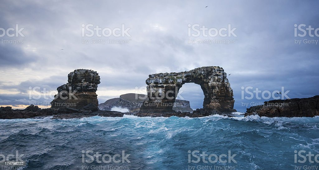 Darwin's Arch with Darwin Island in Background stock photo