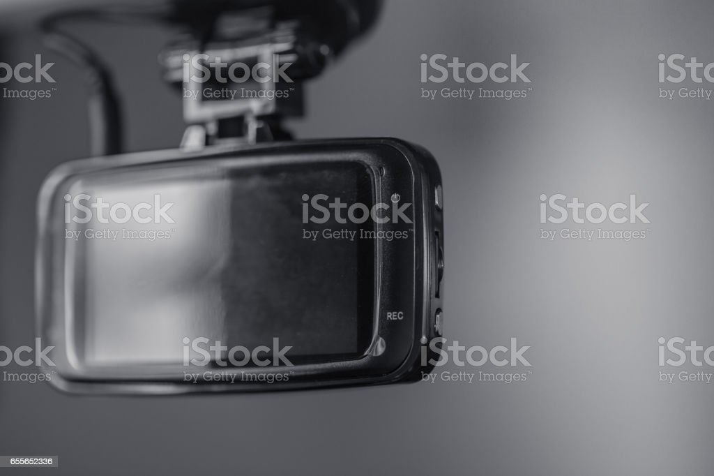 Dash cam, car on board security CCTV. stock photo