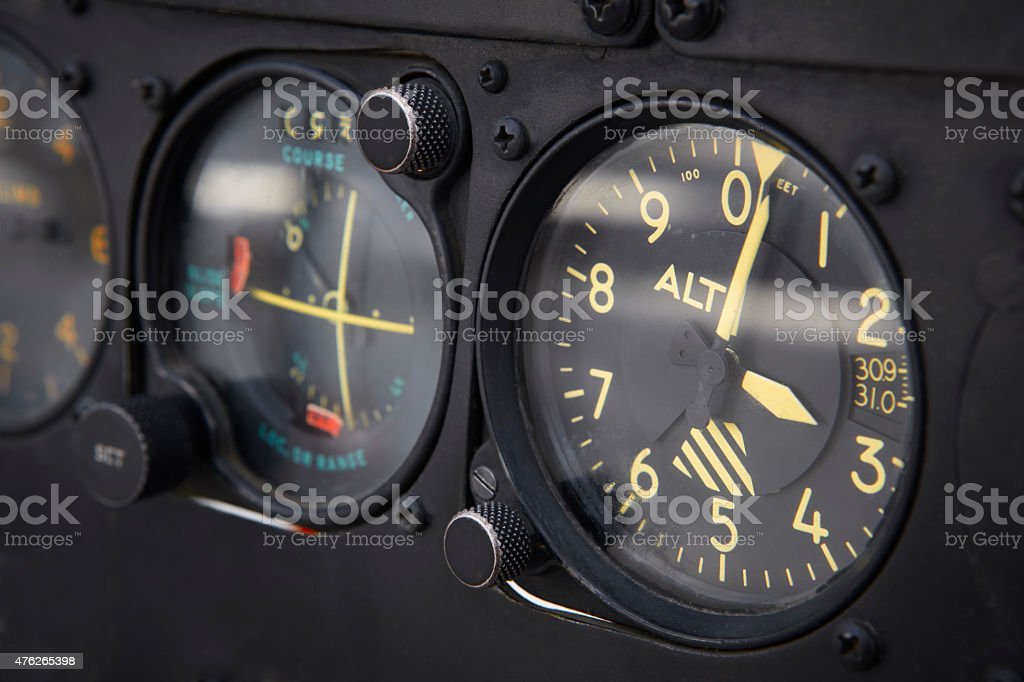 Dashboard altimeter detail of an airplane stock photo