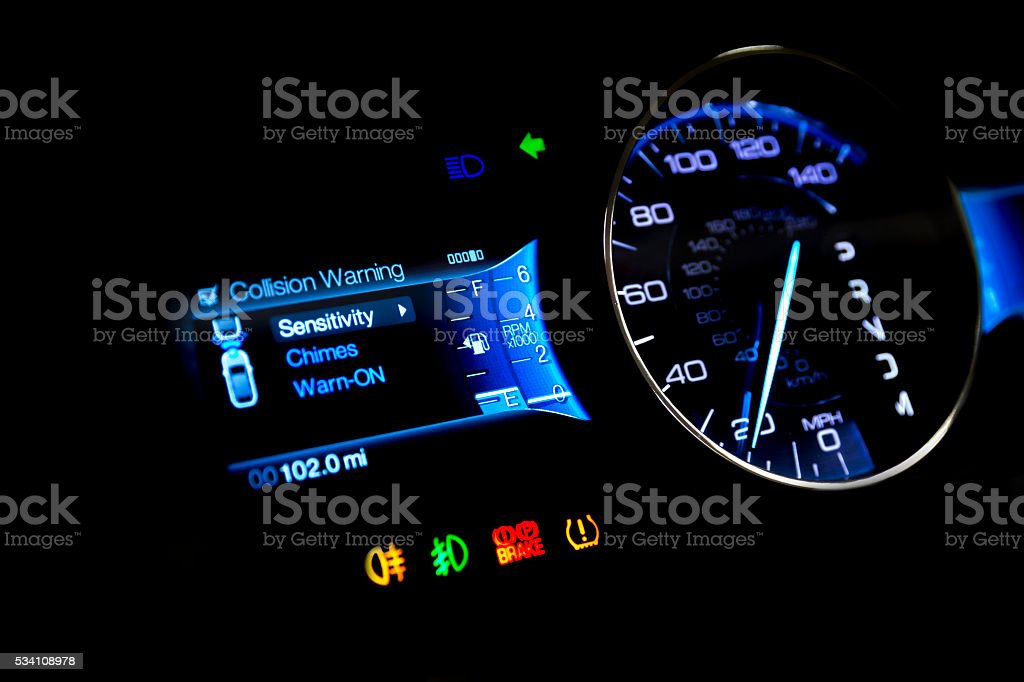 Dashboard and digital display - mileage, fuel consumption, speedometer MPH stock photo