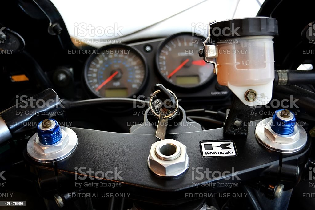 Dashboard and Steering Assembly of a 2007 Kawasaki ZZR600 stock photo