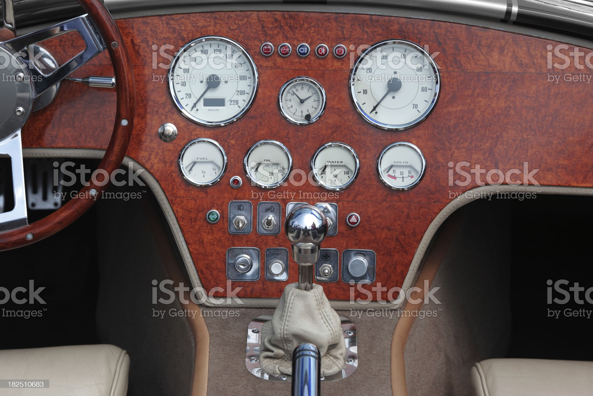 Dashboard and steering wheel of collectors car royalty-free stock photo