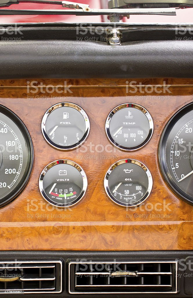 Dashboard detail of vintage car. royalty-free stock photo