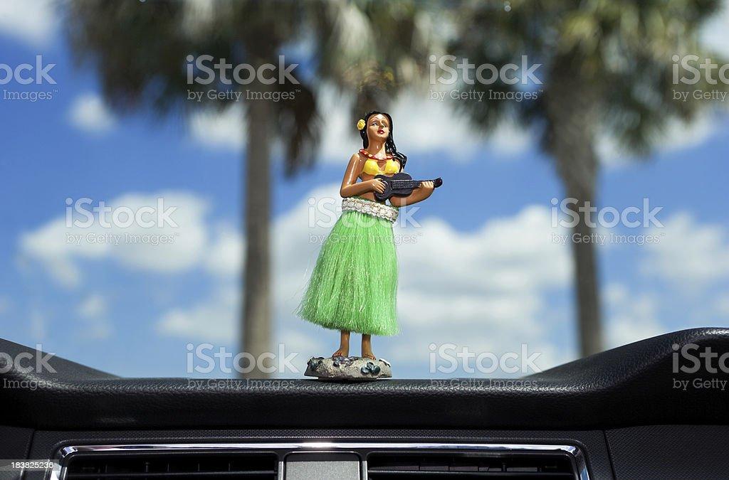 Dashboard hula dancer stock photo