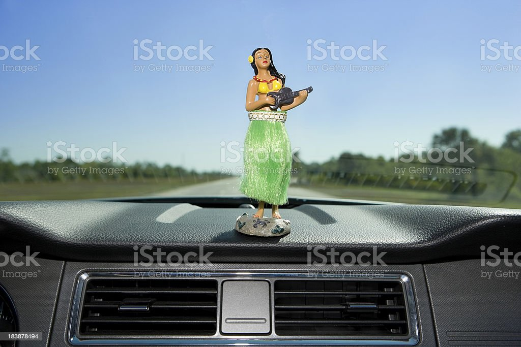 Dashboard hula dancer stock photo