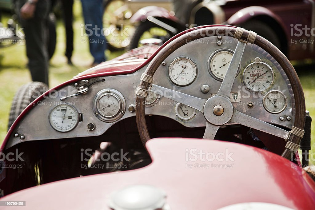 Dashboard in an old race car stock photo