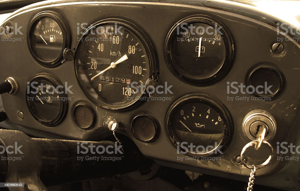Dashboard in an old truck stock photo