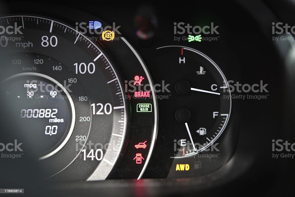 Dashboard instrument panel with warning lights stock photo
