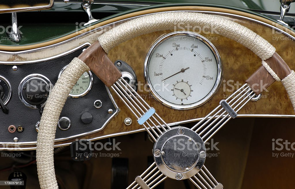 Dashboard of a classic car royalty-free stock photo