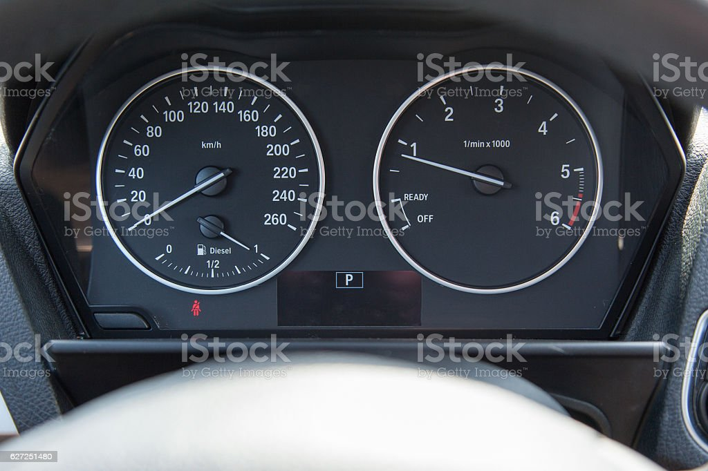 Dashboard of a modern car with a mileage stock photo