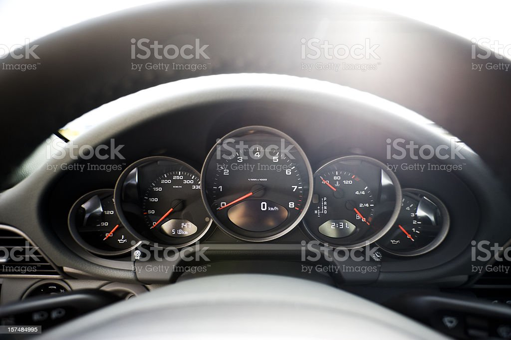 Dashboard of a sports car royalty-free stock photo