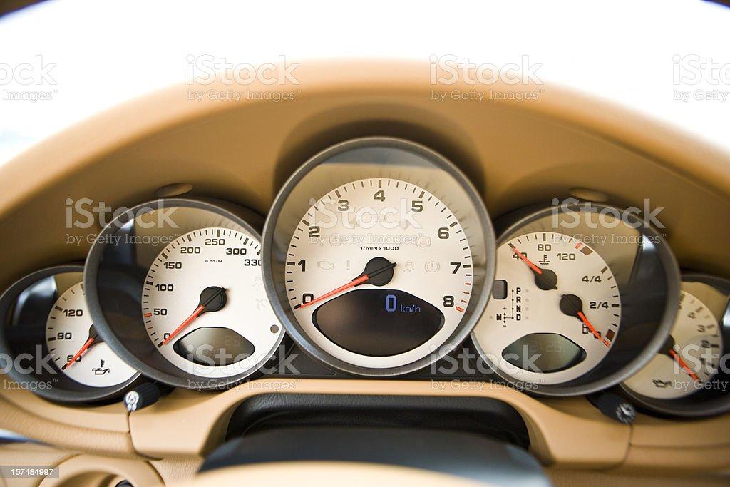 Dashboard of a sports car stock photo