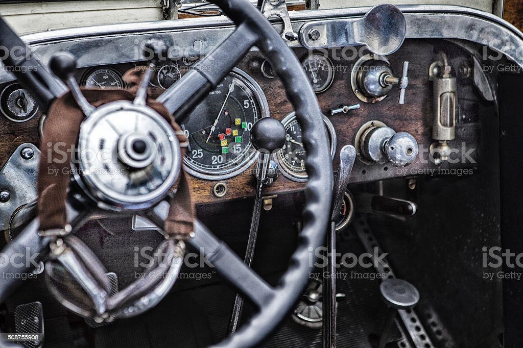 Dashboard of a vintage car stock photo