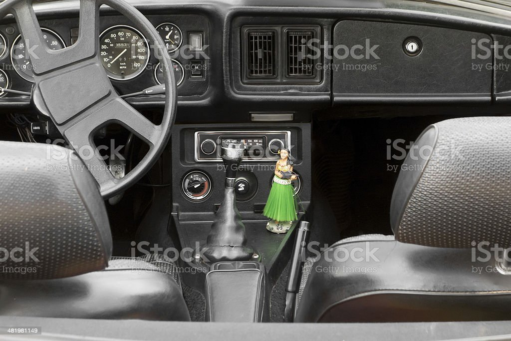 dashboard of an old retro convertible american car royalty-free stock photo