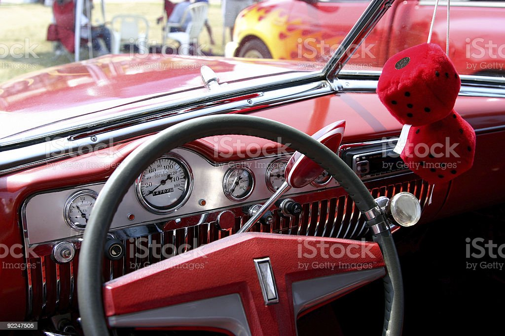 Dashboard of antique car royalty-free stock photo