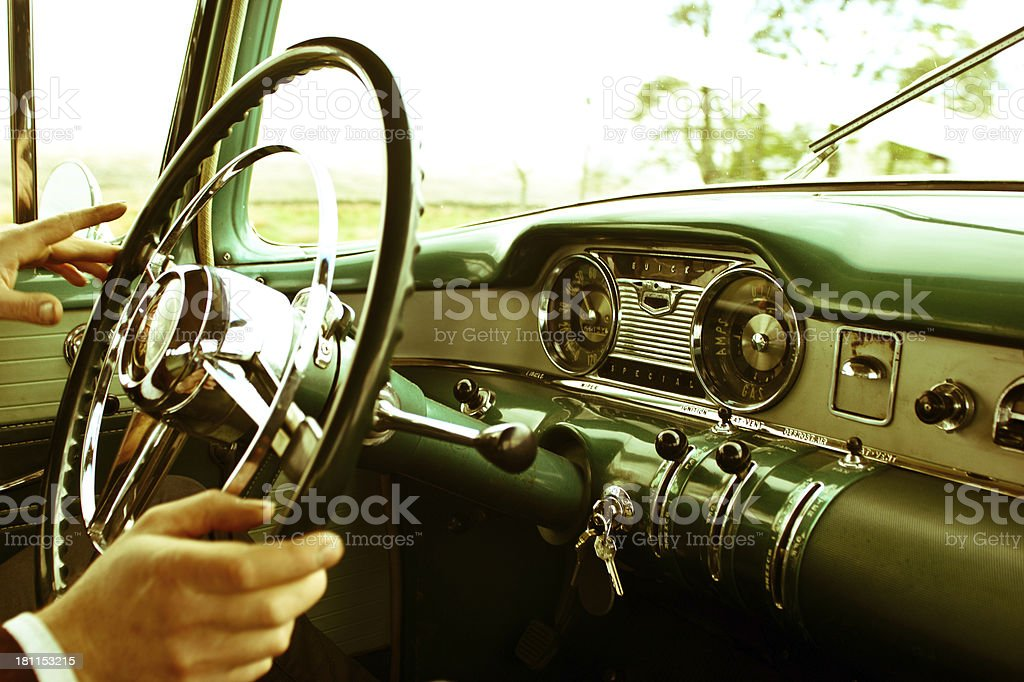 Dashboard of Classic American 60s car stock photo