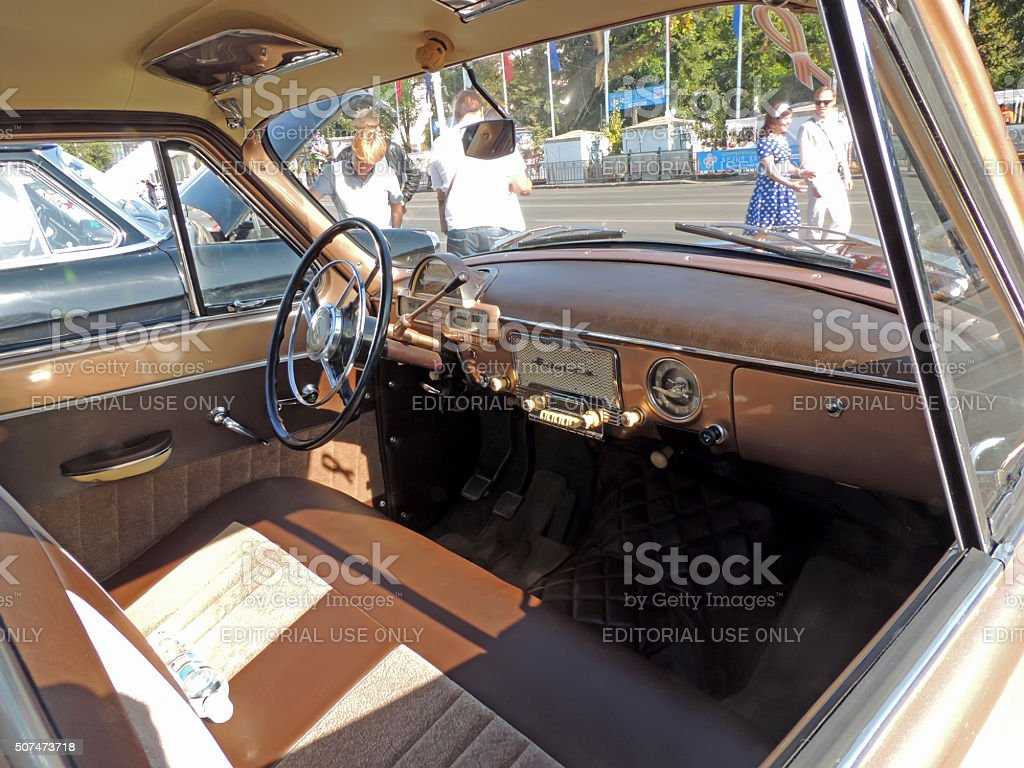 Dashboard of the Soviet retro car Volga 21 stock photo