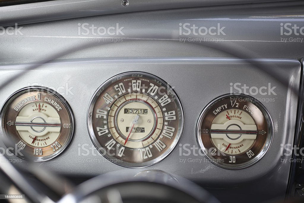 Dashboard of vintage car stock photo